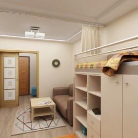 Спальное место для ребенка на втором ярусе корпусной мебели