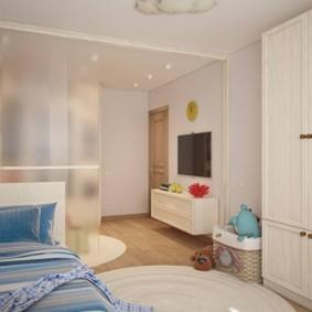 Матовая перегородка в однокомнатной квартире