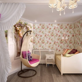 Подвесное кресло в комнате девочки