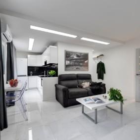 Интерьер квартиры студии в стиле хай тек