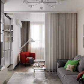 Занавеска в роли разделителя пространства в общей комнате