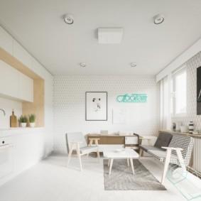 Квартира-студия с белыми стенами