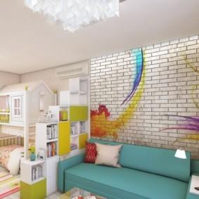 Дизайн гостиной с выделенной детской зоной