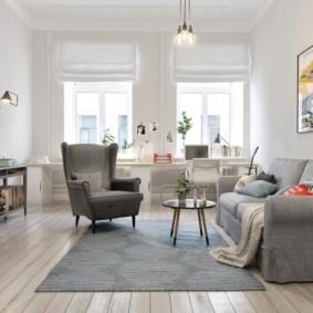 Просторная комната в скандинавском стиле