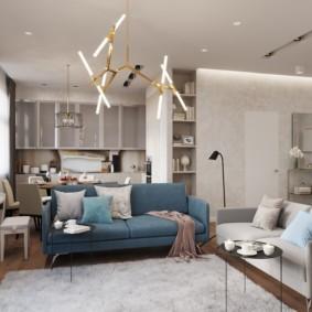 Дизайн гостиной с двумя диванами разного стиля