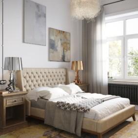 Абстракция в интерьере спального помещения