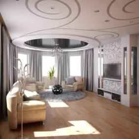 Зонирование гостиной потолочным покрытием
