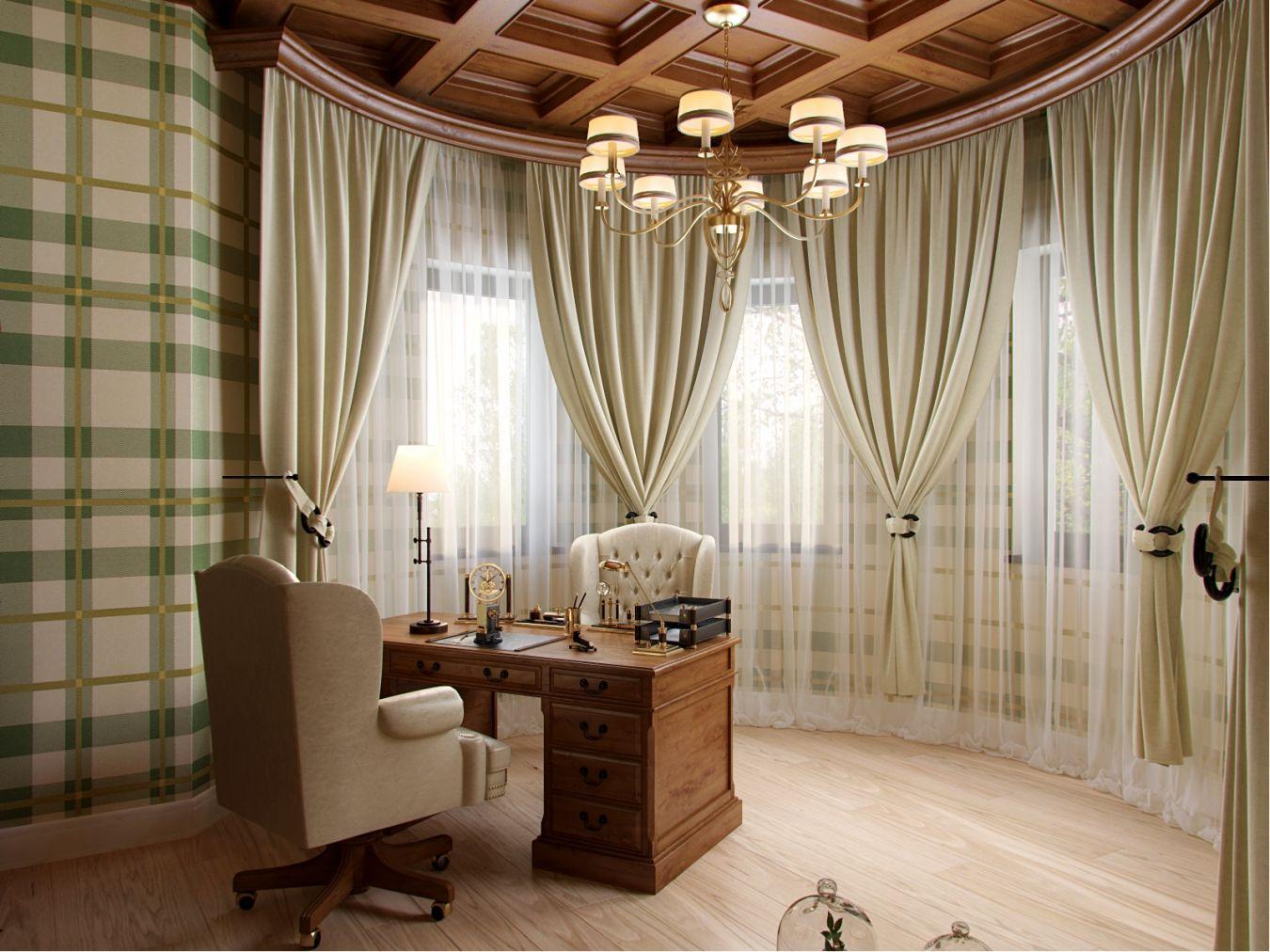 Студия два окна шторы классика фото