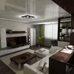 Натяжной потолок в гостиной частного дома