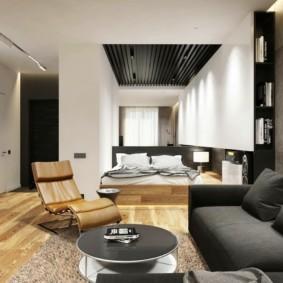 Интерьер гостиной в белом и черном цветах