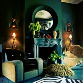 Полосатый коврик в гостиной арт деко