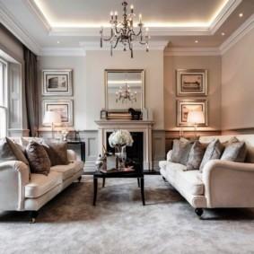 Современная гостиная с двумя диванами