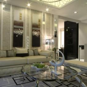 Раскладной диван в кухне-гостиной стиля арт деко