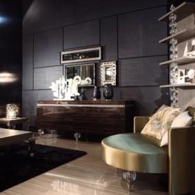 Черные стены гостиной в стиле арт деко