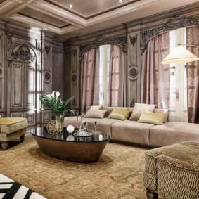 Оформление большой гостиной в стиле арт деко