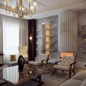 Облицовка стен гостиной натуральным мрамором