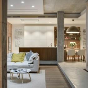 Дизайн совмещенной комнаты в студии