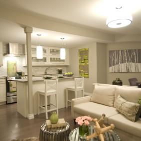 Кухня гостиная в пастельных тонах