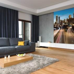 Фотообои на стене гостиной в квартире