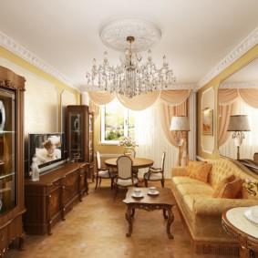 Классическая гостиная в квартире панельного дома