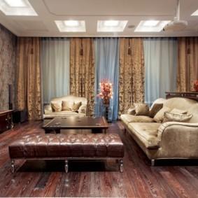 Деревянный пол гостиной в стиле неоклассика