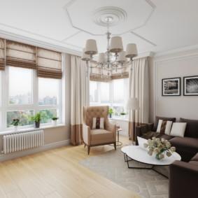 Римские шторы в гостиной городской квартиры