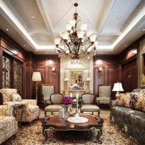 Освещение гостиной с деревянной мебелью