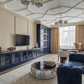 Синяя мебель в современной гостиной