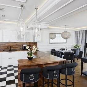 Зонирование полом кухни гостиной