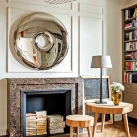 Мебель из деревянных спилов для гостиной