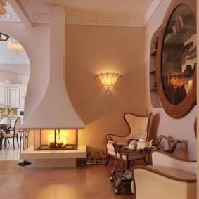 Дымоход над камином в гостиной классического стиля