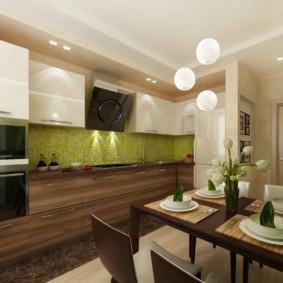 Зеленый фартук в просторной кухне