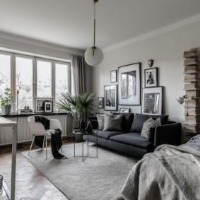 Серая мебель в квартире-студии