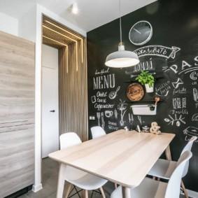 Грифельная стена в интерьере кухни