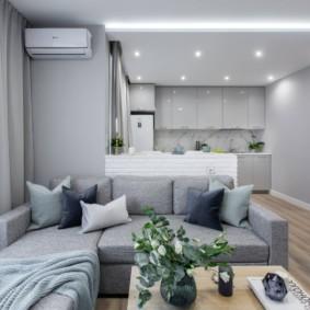 Освещение квартиры со стенами светло-серого цвета