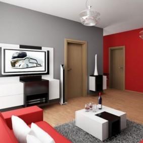Красные акценты в интерьере гостиной