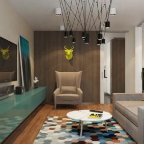 Подвесные светильники в гостиной комнате