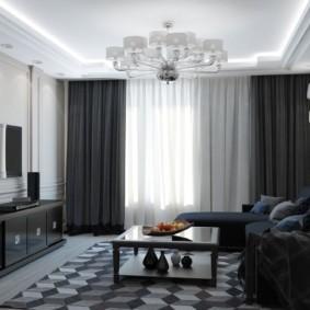 Темные шторы в гостиной комнате
