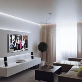 Белый потолок из гипсокартона в гостиной
