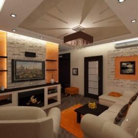 Дизайн гостиной с многоуровневым потолком