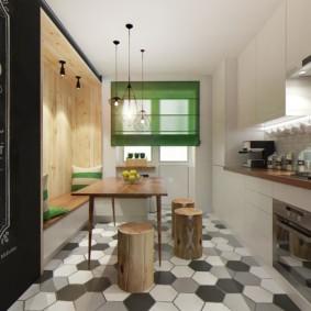 Керамическая плитка в форме сот на полу кухни