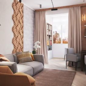 Гостиная комната с присоединенным балконом