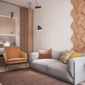 Декор стены деревянными панелями