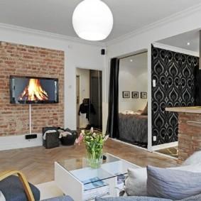 Кирпичная текстура в интерьере квартиры