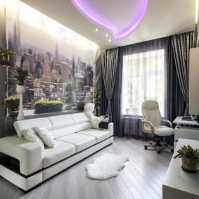 Дизайн небольшого зала с фотообоями на стене