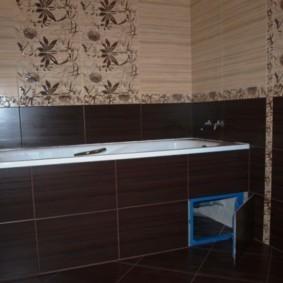 Коричневая плитка в ванной хрущевки
