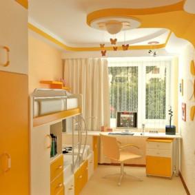 Желтый цвет в дизайне детской