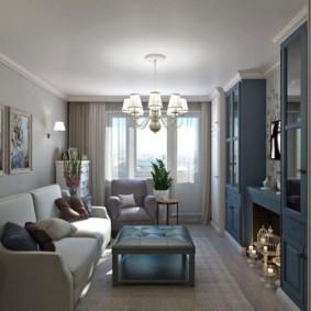 Деревянная мебель в гостиной с балконом