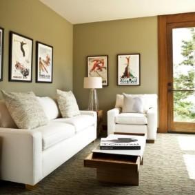 Комфортная мебель в гостиной частного дома