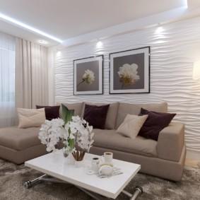 3D панели в интерьере гостиной комнаты